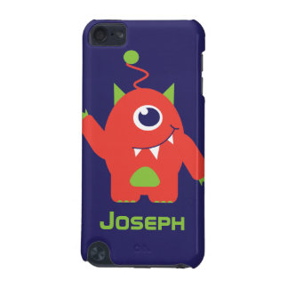 Kids 1 eyed alien orange & blue named ipod case