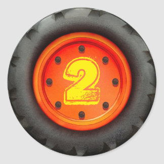 Kid's 2nd Birthday Construction Truck Party Round Sticker
