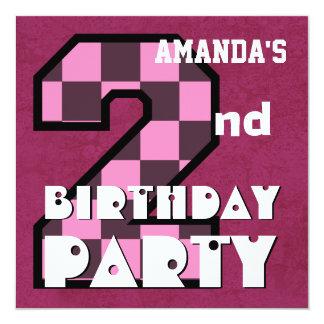 Kid's 2nd Birthday Pink CHECKS Custom Name V02 Custom Invite