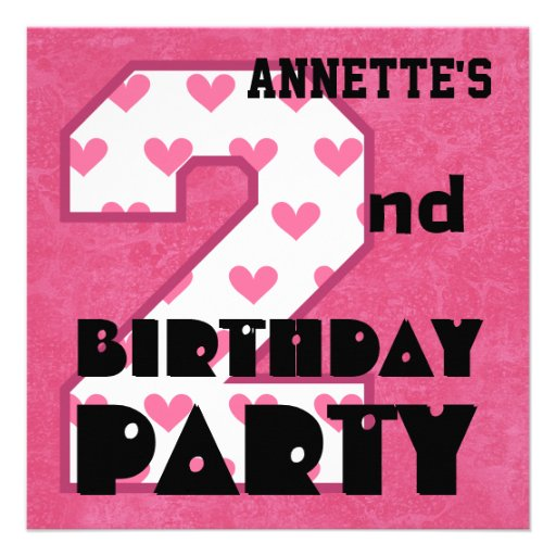 Kid's 2nd Birthday Pink HEARTS Custom Name V05 Announcement