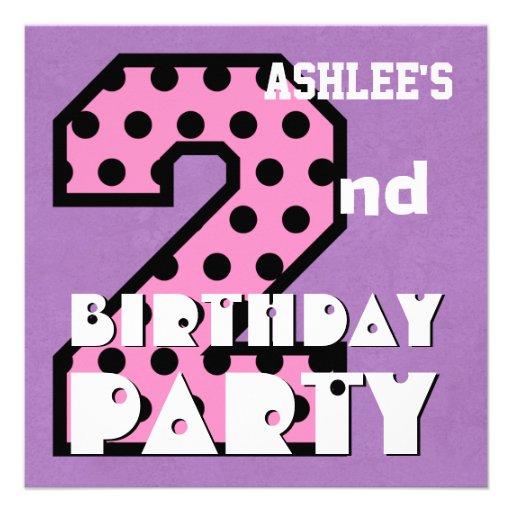 Kid's 2nd Birthday Pink POLKA DOTS Custom Name V03 Invite