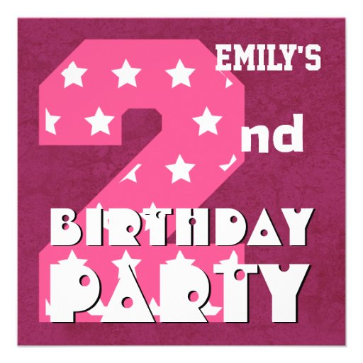 Kid's 2nd Birthday Pink STARS Custom Name V01 Personalized Announcement