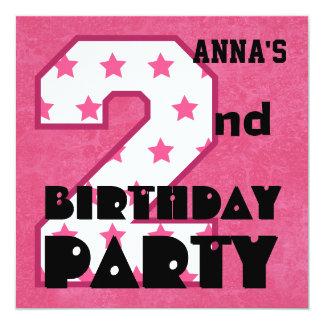 Kid's 2nd Birthday Pink STARS Custom Name V04 Invite