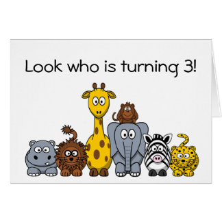 Kids 3rd Birthday Party Invitation Jungle Animals
