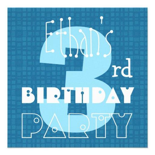 Kid's 3rd Birthday Three Year Old Blue White 003 Invite