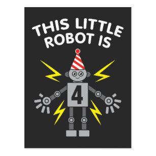 Kids 4th Birthday Boys Robot Science 4 Year Old Postcard