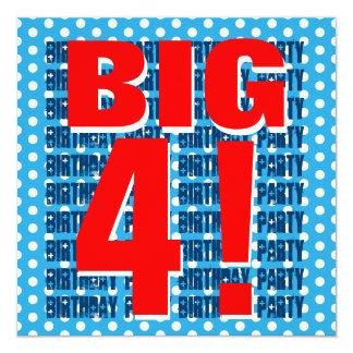 "Kids 4th Birthday Modern BLUE Pattern RED v03B 5.25"" Square Invitation Card"