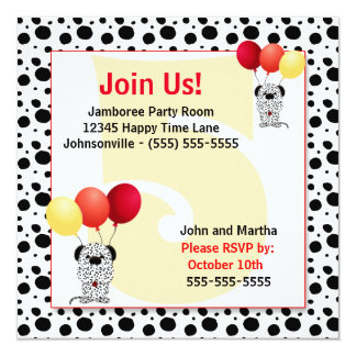 Kid's 5th Birthday | Red and Yellow Dalmatian Card