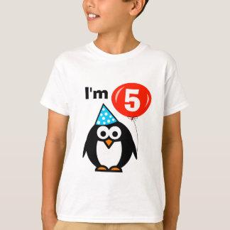 Kids 5th Birthday shirt with penguin cartoon