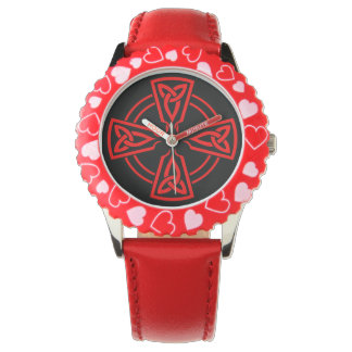 Kid's Adjustable Bezel Stainless Steel Red Hearts Watch