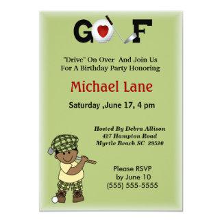 Kids African American Golfer Invitation