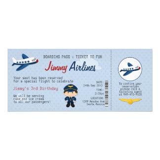 Kids Airline Ticket Birthday Party Invitation