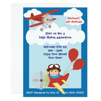 Kids Airplanes Birthday Party Card