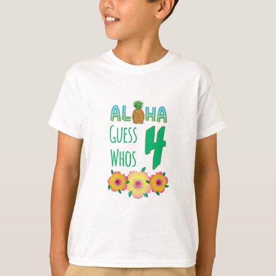 Kids Aloha Tropical Luau 4 Years Old Birthday T-Shirt