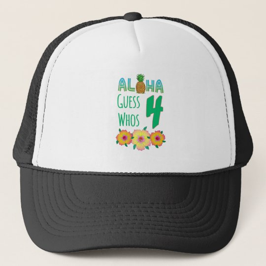 Kids Aloha Tropical Luau 4 Years Old Birthday Trucker Hat