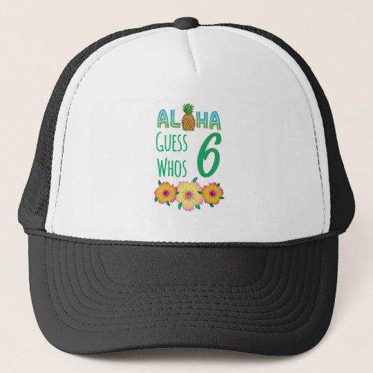 Kids Aloha Tropical Luau 6 Years Old Birthday Trucker Hat