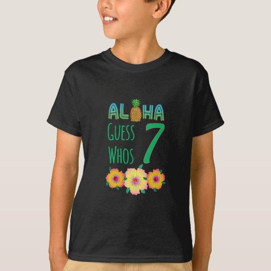 Kids Aloha Tropical Luau 7 Years Old Birthday T-Shirt