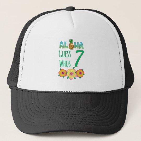 Kids Aloha Tropical Luau 7 Years Old Birthday Trucker Hat