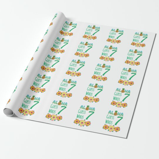 Kids Aloha Tropical Luau 7 Years Old Birthday Wrapping Paper