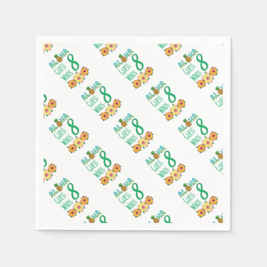 Kids Aloha Tropical Luau 8 Years Old Birthday Paper Napkin