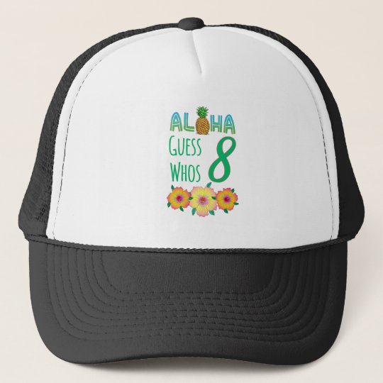 Kids Aloha Tropical Luau 8 Years Old Birthday Trucker Hat