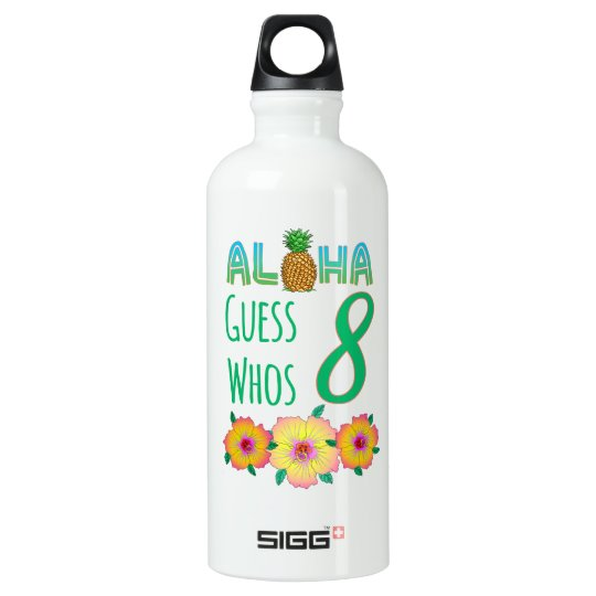 Kids Aloha Tropical Luau 8 Years Old Birthday Water Bottle