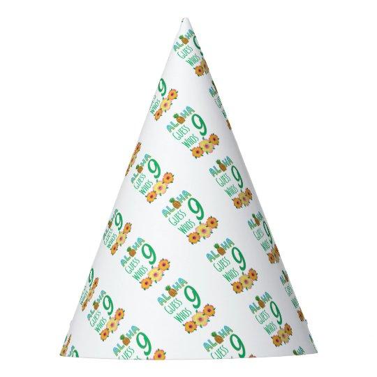 Kids Aloha Tropical Luau 9 Years Old Birthday Party Hat