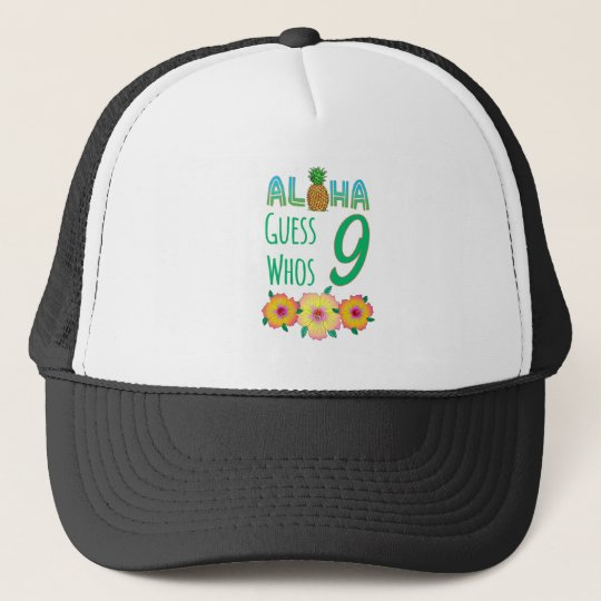 Kids Aloha Tropical Luau 9 Years Old Birthday Trucker Hat
