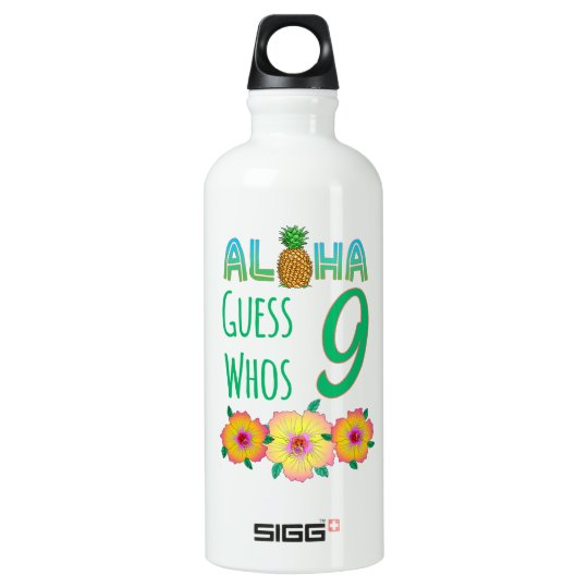 Kids Aloha Tropical Luau 9 Years Old Birthday Water Bottle