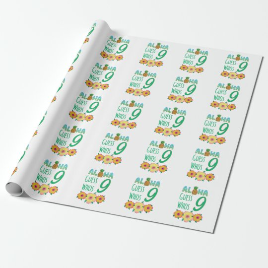 Kids Aloha Tropical Luau 9 Years Old Birthday Wrapping Paper