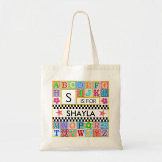 Kids Alphabet Art Pink Accents Budget Tote Bag