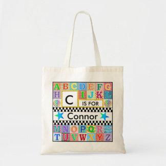 Kids Alphabet Art School Blue Star Tote Bag