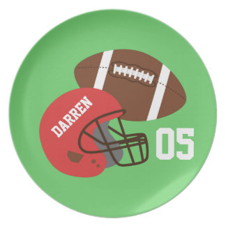 Kids American Football and Red Helmet Plate