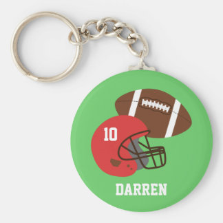 Kids American Football Helmet Name Basic Round Button Keychain