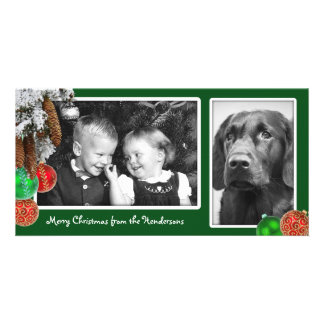 Kids and Dog Two Photo Christmas Card Photo Cards