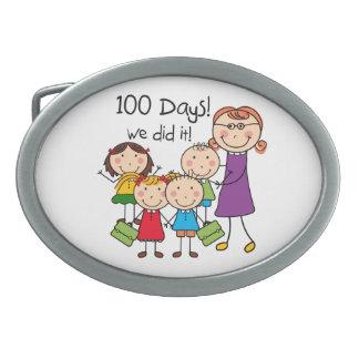 Kids and Female Teacher 100 Days Oval Belt Buckle
