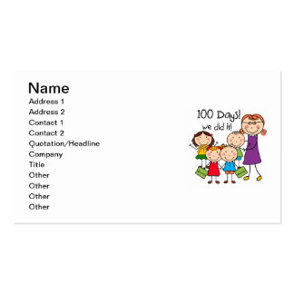 Kids and Female Teacher 100 Days Double-Sided Standard Business Cards (Pack Of 100)