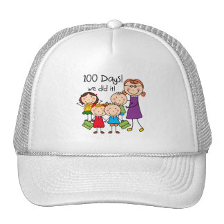 Kids and Female Teacher 100 Days Trucker Hat