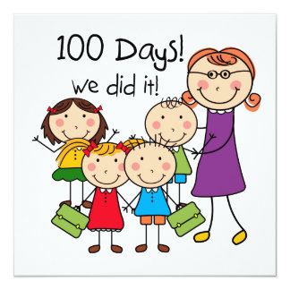 Kids and Female Teacher 100 Days 5.25x5.25 Square Paper Invitation Card