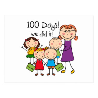 Kids and Female Teacher 100 Days Postcard