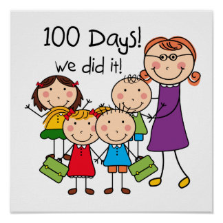 Kids and Female Teacher 100 Days Poster