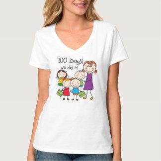 Kids and Female Teacher 100 Days Shirts