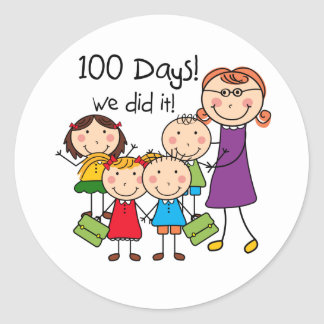 Kids and Female Teacher 100 Days Round Stickers