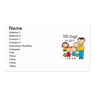 Kids and Male Teacher 100 Days Business Card Template