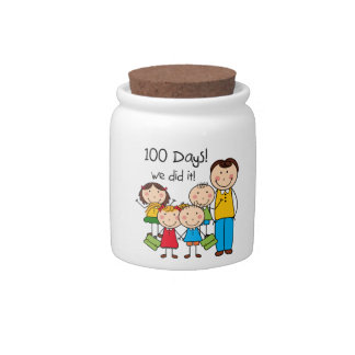 Kids and Male Teacher 100 Days Candy Dishes