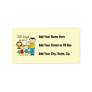 Kids and Male Teacher 100 Days Address Label