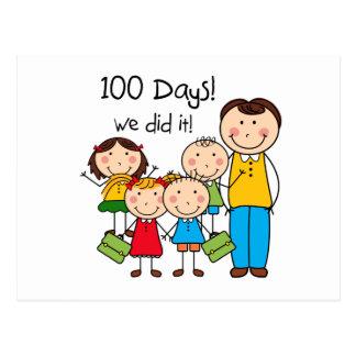 Kids and Male Teacher 100 Days Postcard