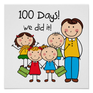 Kids and Male Teacher 100 Days Poster