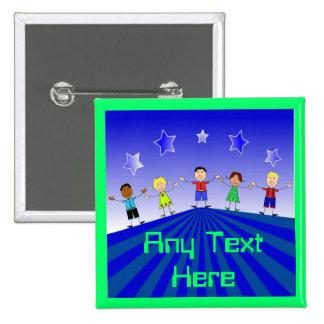 Kids And Stars Custom Button Pin