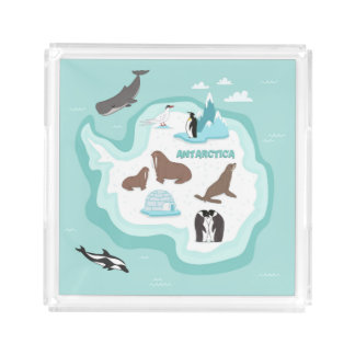Kids Animal Map of Antarctica Acrylic Tray